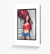 """Sexy Fashion Photography  - """"Sexy Asian Girl with Red Hair with Red Heart Balloons - Modern Pinup"""" Featuring The Beautiful Model Yuni Kaye  Greeting Card"""