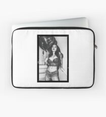 """Sexy Fashion Photography  - """"Sexy Asian Girl with Red Hair with Red Heart Balloons - Modern Pinup"""" Featuring The Beautiful Model Yuni Kaye in Black & White Laptop Sleeve"""
