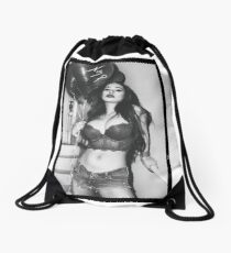 """Sexy Fashion Photography  - """"Sexy Asian Girl with Red Hair with Red Heart Balloons - Modern Pinup"""" Featuring The Beautiful Model Yuni Kaye in Black & White Drawstring Bag"""