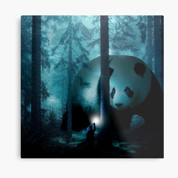 Giant Panda in a Forest Metal Print