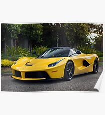 Yellow Ferrari LaFerrari Poster