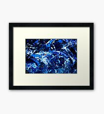 Tsumarmie  organic abstract in blue and white Framed Print