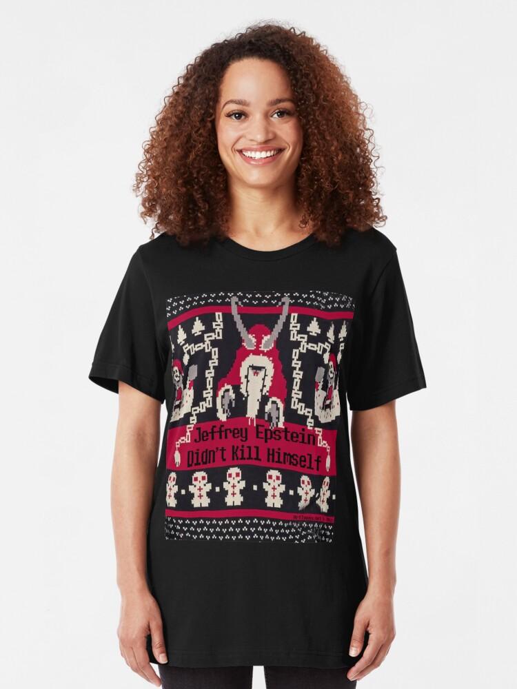 Alternate view of Jeffrey Epstein Krampus Christmas Slim Fit T-Shirt