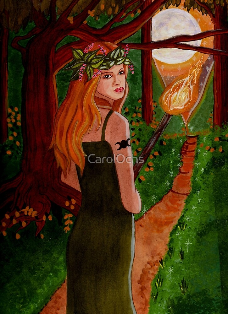 Come To The Beltane Fire - Witch Art by CarolOchs