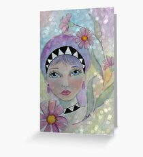 Whimiscal Girl with Purple Hair Greeting Card