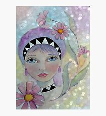 Whimiscal Girl with Purple Hair Photographic Print