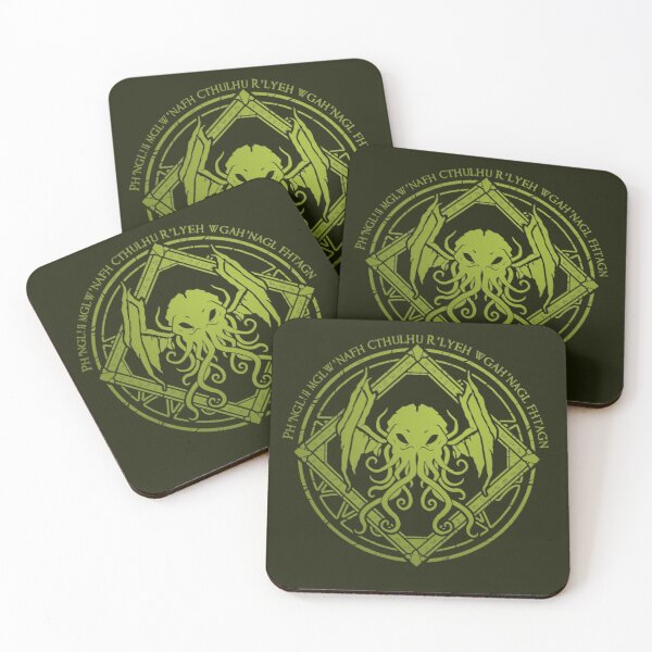 Cthulhu - Lovecraft - Chant design Coasters (Set of 4)