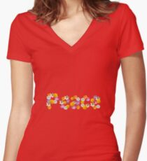 "Floral ""Peace"" Design Women's Fitted V-Neck T-Shirt"