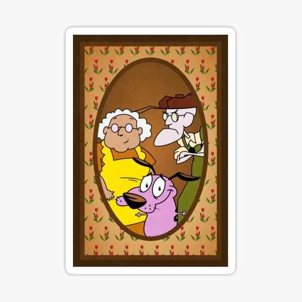 Courage the Cowardly Dog Family Portrait Sticker