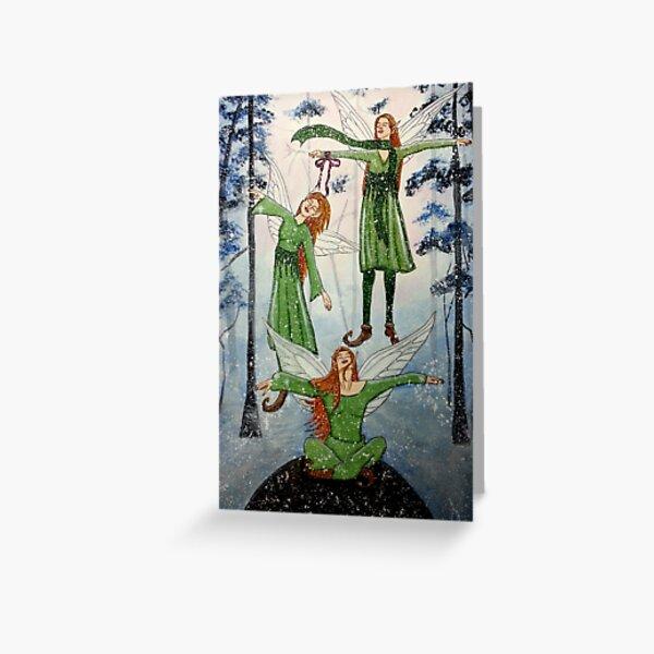 First Snow Fairyphoria - Snow Fairy Art Greeting Card