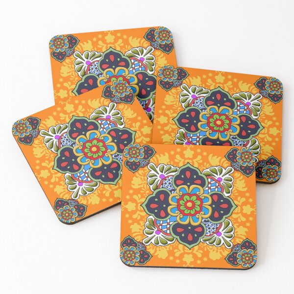 Mexican Talavera Flower Coasters (Set of 4)