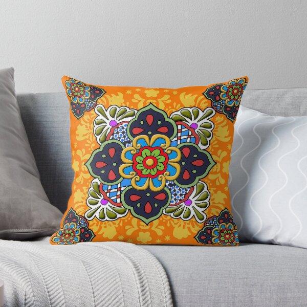 Mexican Talavera Flower Throw Pillow