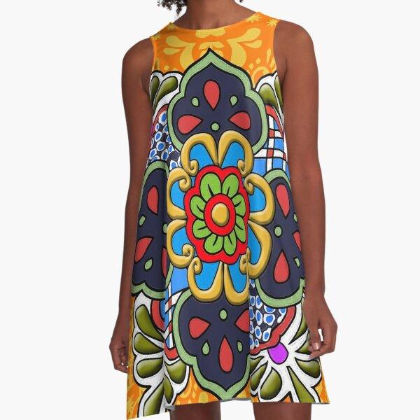 Mexican Talavera Flower A-Line Dress