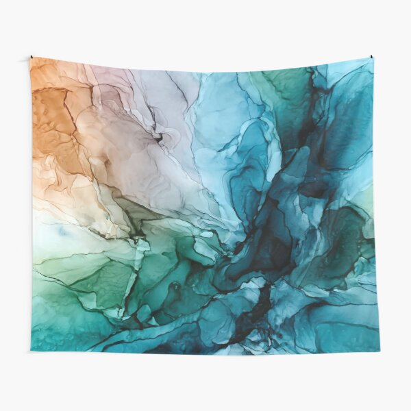 Salty Shores Colorful Abstract Painting Tapestry