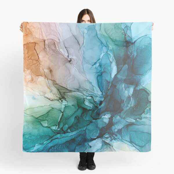 Salty Shores Colorful Abstract Painting Scarf