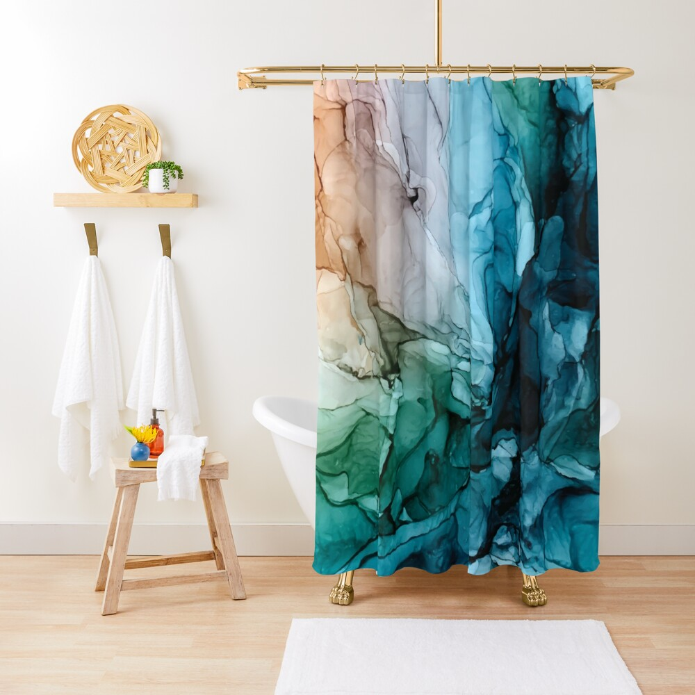 Salty Shores Colorful Abstract Painting Shower Curtain