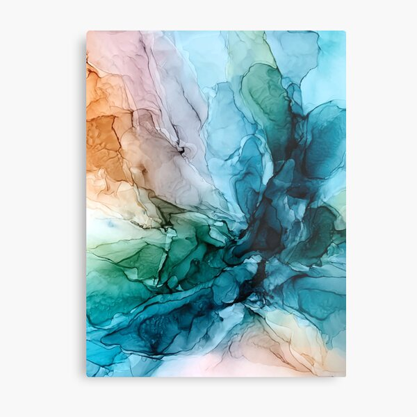 Salty Shores Colorful Abstract Painting Metal Print