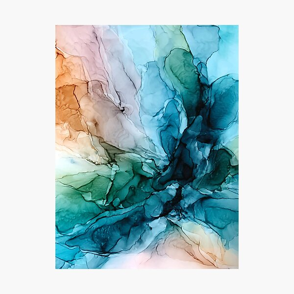 Salty Shores Colorful Abstract Painting Photographic Print