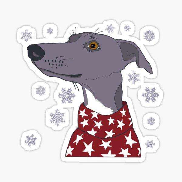 Winter Whippet Christmas Sticker