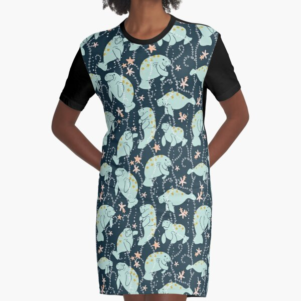 Oh the Hue-Manatee: Teal Graphic T-Shirt Dress