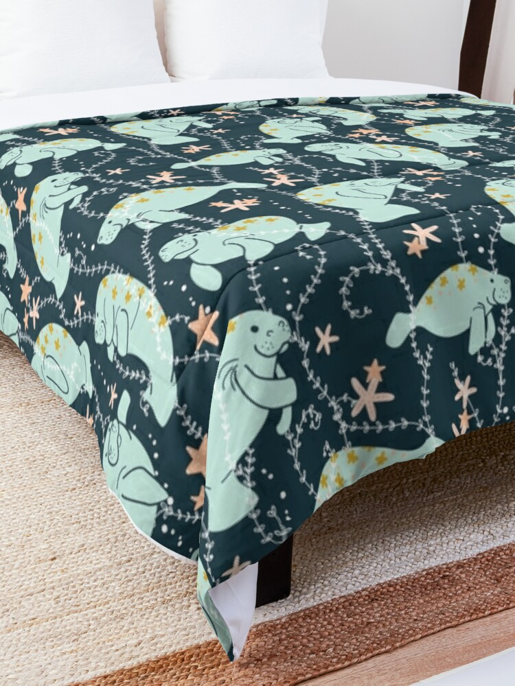 Alternate view of  Oh the Hue-Manatee: Teal Comforter