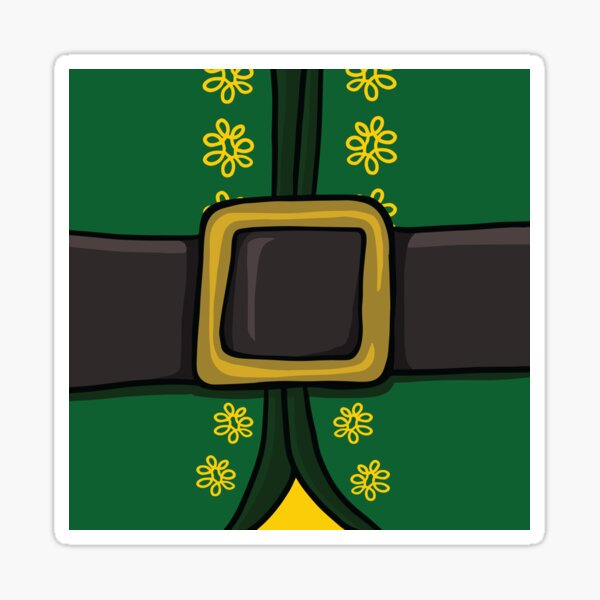 Christmas Buddy The Elf Belly with Gold Belt Sticker