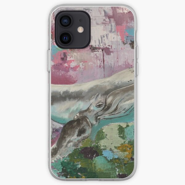 Humpback whale on abstract background iPhone Soft Case