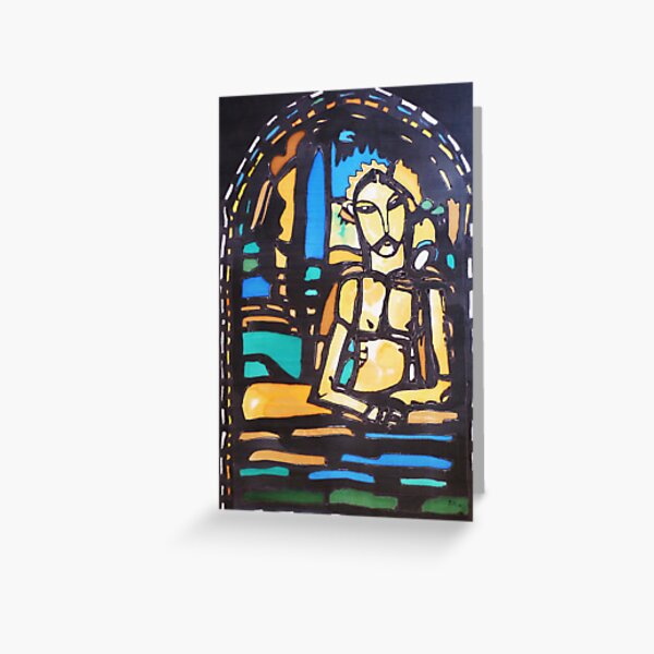 Silkpainting of stained glass window - where in US is it? Greeting Card