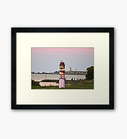 Seagull on Board -The Bollards Geelong. Framed Print
