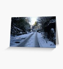 A snowy village in Hertfordshire Greeting Card