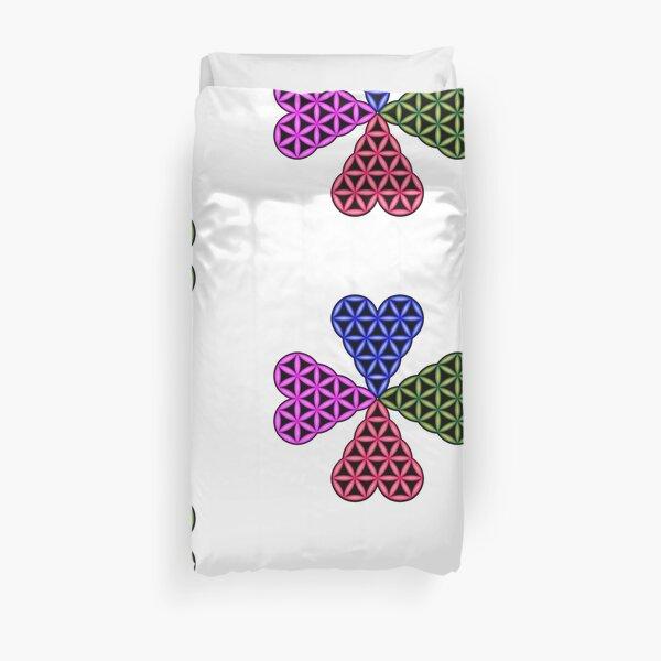 Heart of Life x 4 - Flower of Heart, 3D - Colorful Duvet Cover