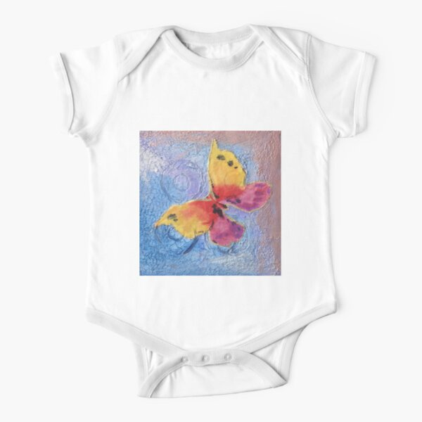 Textured Butterfly Short Sleeve Baby One-Piece