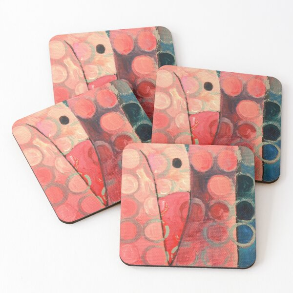 Pink Spotted Bird Coasters (Set of 4)