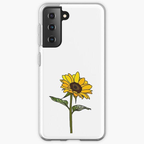 Aesthetic Sunflower on White Samsung Galaxy Soft Case
