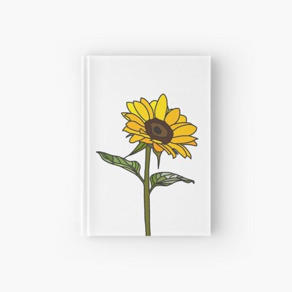 Aesthetic Sunflower on White Hardcover Journal