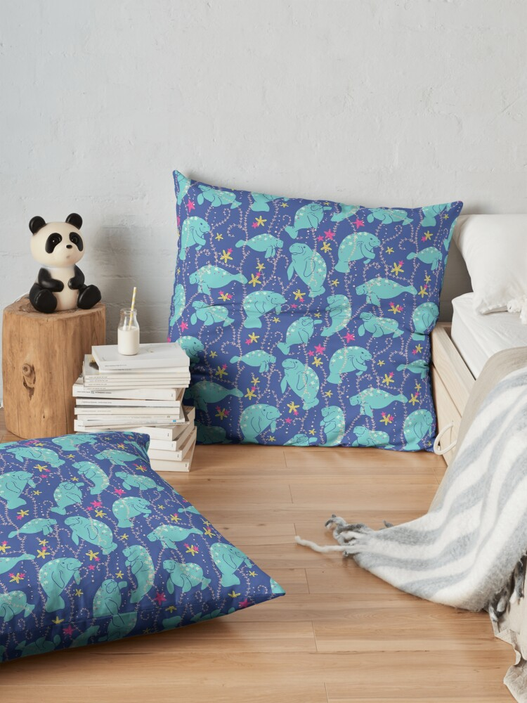 Alternate view of Oh the Hue-Manatee: bright  Floor Pillow