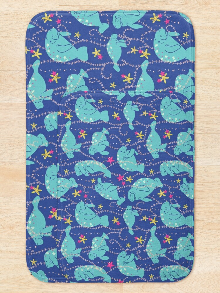Alternate view of Oh the Hue-Manatee: bright  Bath Mat