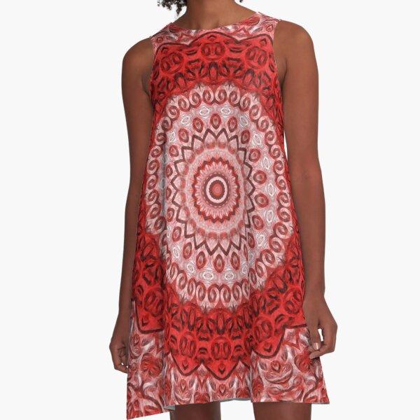 Mandala roja de protección. Vestido acampanado