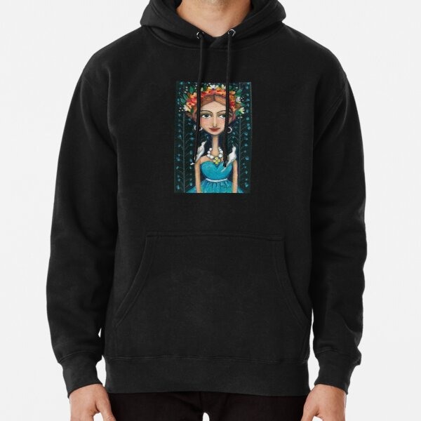 Frida Kahlo with Birds in Blue Dress Pullover Hoodie