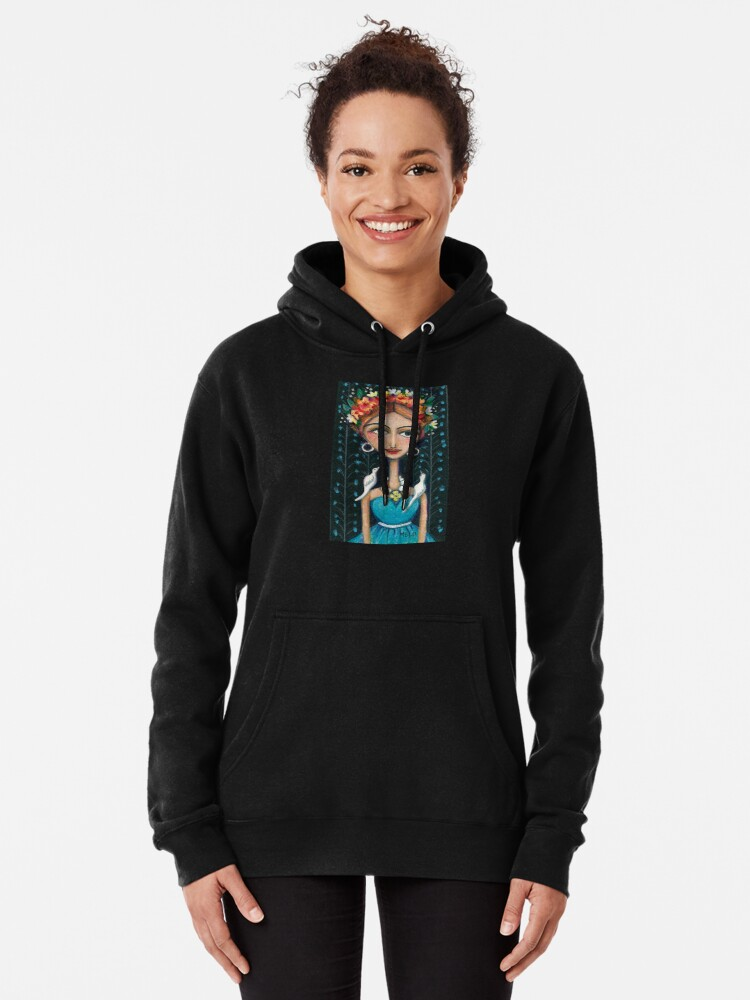Alternate view of Frida Kahlo with Birds in Blue Dress Pullover Hoodie
