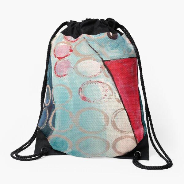 Blue Spotted Bird Drawstring Bag