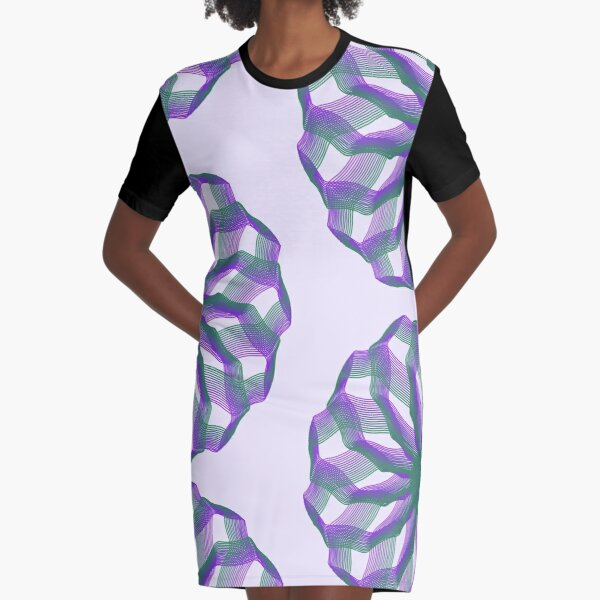 Spirograph with green and violet Graphic T-Shirt Dress