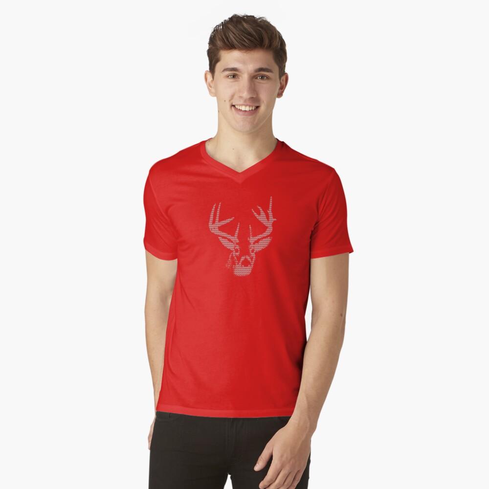 Knitted Reindeer Sweater V-Neck T-Shirt