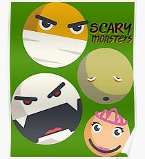 Monsters smilies emoticons mummy vampire zombie princess Poster