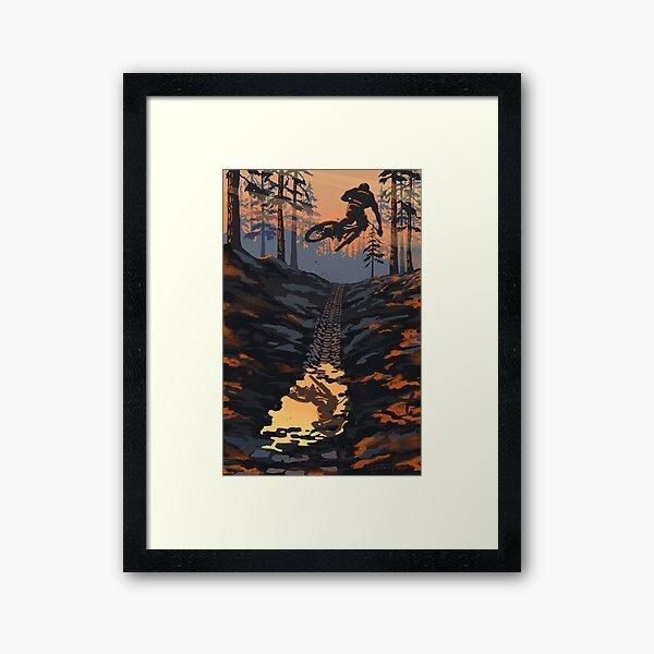 Retro styled mountain biking dirt jumper sunset Framed Art Print