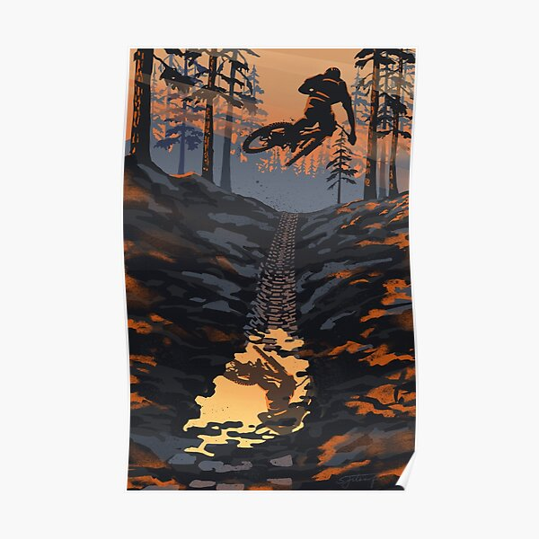 Retro styled mountain biking dirt jumper sunset Poster
