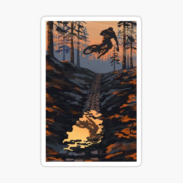 Retro styled mountain biking dirt jumper sunset Sticker