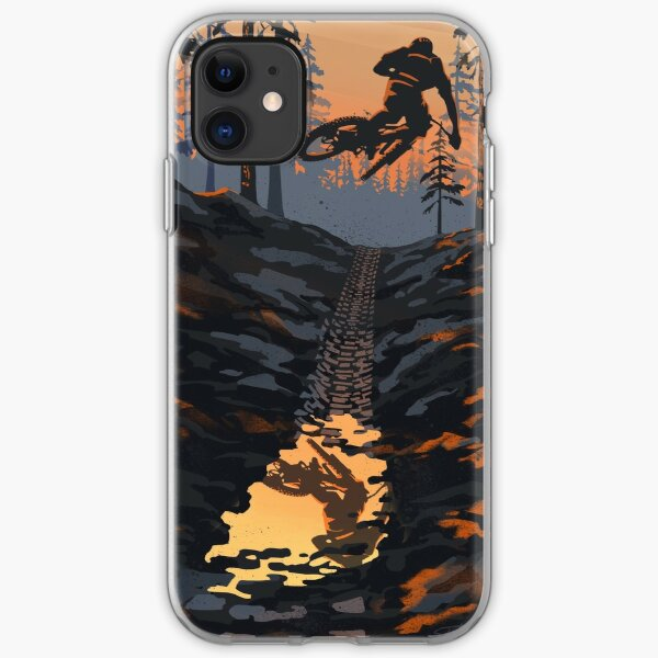 Retro styled mountain biking dirt jumper sunset iPhone Soft Case