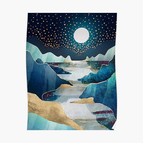 bleu et étoiles Poster