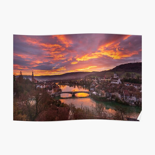 The Rhine and Laufenburg at dawn Poster